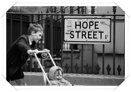 'Street sign, Liverpool 1966' Philip Jones Griffiths/Magnum Photos. Courtesy of the Philip Jones Griffiths Foundation
